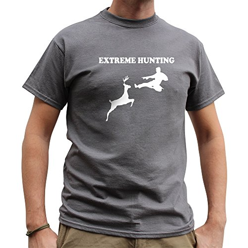 Nutees Men's Extreme Hunting Deer Martial Arts Funny T Shirt Charcoal Grey XLarge