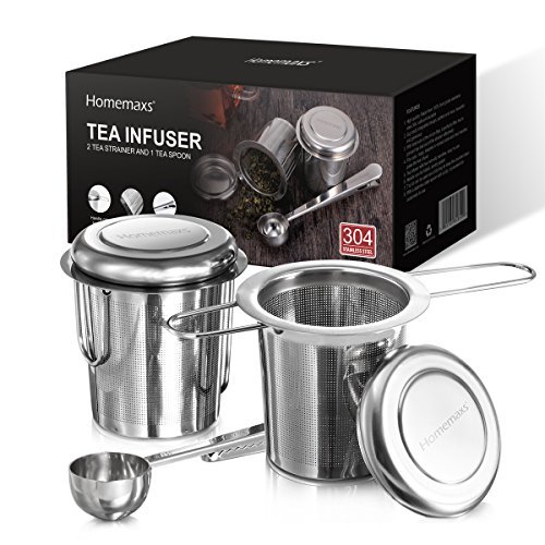 Double Handled Basket - Homemaxs Tea Infuser 304 Stainless Steel Including 2 Mesh Tea Strainer & 1 Scoop with Double Folding Handles for Hanging on Teapots, Mugs, Cups
