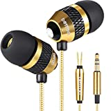Betron B25 Noise Isolating in Ear Canal Headphones Earphones with Pure Sound and Powerful Bass for iPhone, iPad, iPod, Samsung Smartphones and Tablets (Gold)