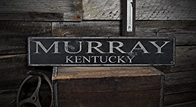 MURRAY, KENTUCKY - Rustic Hand-Made Vintage Wooden USA City Sign