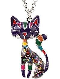 Statement Enamel Alloy Chain Cat Necklaces Pendant Original Design For Women Girls