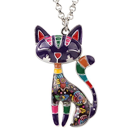 BONSNY Statement Enamel Alloy Chain Cat Necklaces Pendant Original Design for Women Girls (Purple)