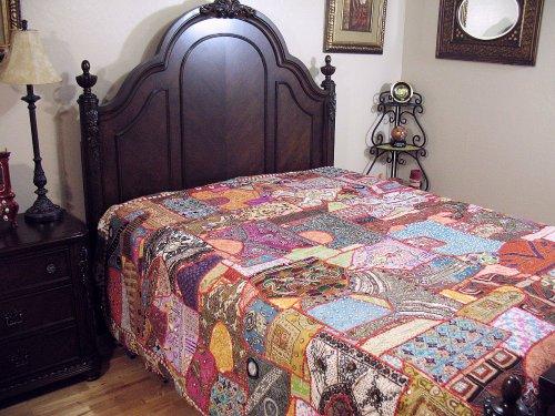 NovaHaat Indian Inspired Decorative Bedding - Vintage Khambadia Beaded Embroidered Tapestry Luxury Bedspread ~ King