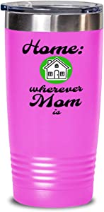 Home is Where Mom Is Tumbler, Mother, Mommy, Mum, green house, child to parent, daughter, son