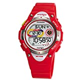 WISE® Girls Watches, Waterproof Watches, LCD Digital Watches, Ladies Sports Casual Wrist Watches 2001d (Red)
