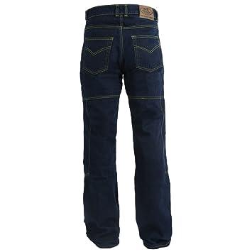 Pantalones vaqueros de motorista para hombre - Con protectores homologados por la CE - Kevlar 280 gsm de Dupont - Azul - W42 L32