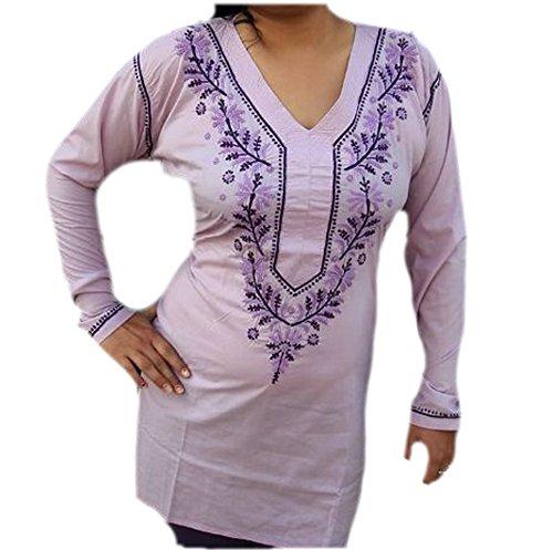 Jayayamala Top Tunique en coton mauve avec belle tunique en dentelle brodée et tunique de taille