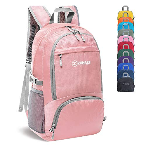 ZOMAKE 30L Lightweight Packable Backpack Water Resistant Hiking Daypack,Small Travel Backpack Foldable Camping Outdoor Bag(Light Pink) (Travel Backpack For Kids)