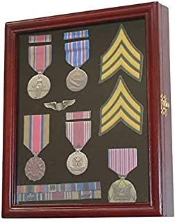 product image for flag connections Display Case Cabinet Shadow Box for Military Medals, Pins, Patches, Insignia, Ribbons Cherry Finish