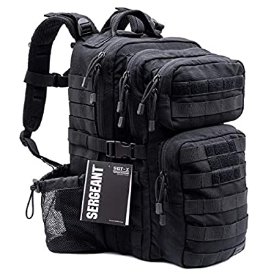 SERGEANT Military Tactical Backpack, 1050D Ballistic Nylon, YKK Zippers, UTX Buckles, Molle. 35L 2-Day, Medium Size, Assault Pack, Bug Out Bag, Rucksack, Daypack, Range, Camping, Hiking, Hunting.