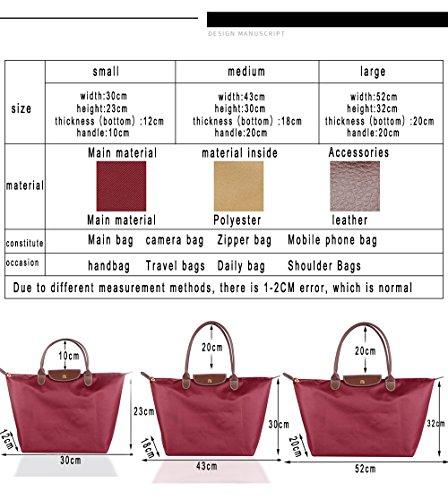 Zipper Tote Shoulder Bag Casual Fold Women's Shopping Beach Nylon ZhengYue Bag Stylish Waterproof Redwine Bags Travel Ladies Messenger Handbag Bag Fold Bags TqfnaItnW