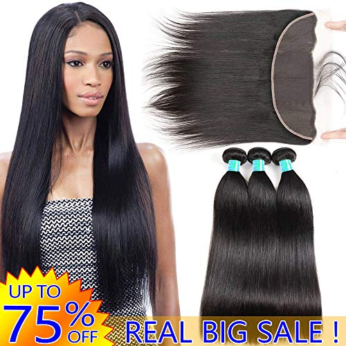 Best Straight Human Hair Weft 3 Bundles 8A Peruvian Virgin Hair Weave With 13x4 Frontal Closure Pre Plucked With Baby Hair Cheap Brazilian Indian 4x13 Ear to Ear Swiss Lace Frontals 18 20 22 And 16 (Best Bundles On Aliexpress 2019)