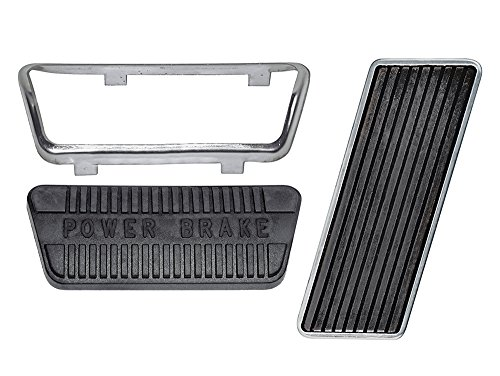 Gas Power Drum Brake Pedal Pads for Auto Trans 1965-67 Mustang 1967 Mercury Cougar (EB65MUPEDST-ATPDRUM)