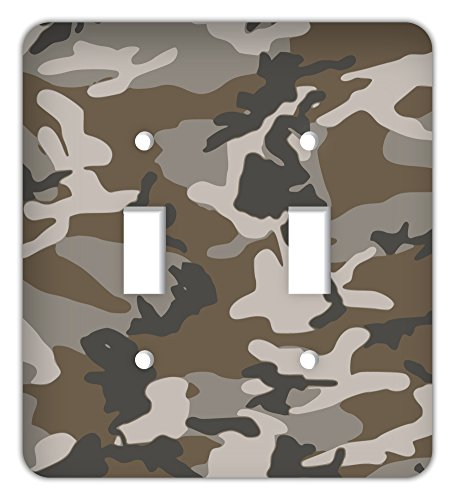 Drama Decor Standard Fatigue Camouflage Printed Trendy Double Switchplate Cover, Desert Tan