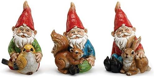 Napco Juego de 3 figuras decorativas de resina para jardín, diseño de gnomos brillantes con amigos de la tierra: Amazon.es: Hogar