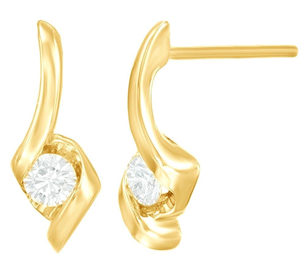 Weißszlig; natürlicher Diamant Solitaire Ohrringe in Tropfenform 14 ct 585 Weißszlig; Gold massiv (0,2 Karat) 14 Karat (585) GelbGold