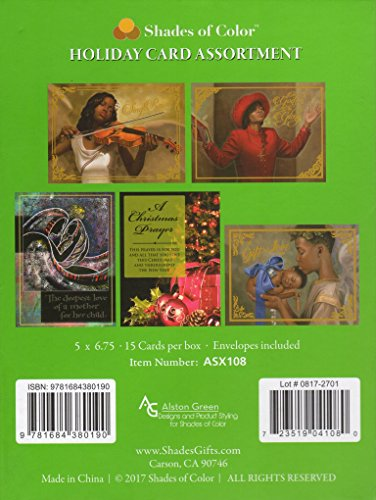 Search : Shades of Color Assorted Box of African American Holiday Cards, 15 Cards and Envelopes, 5 x 6.75 inches (ASX108)