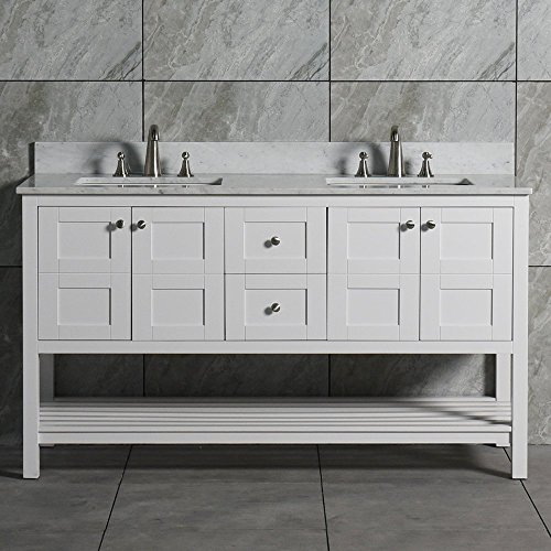 WoodBridge Sydney-6021D, Vanity + top 6021D-1200 Double Bathroom Set with Carrara Marble with Two Rectangle Undermount Bowl, White, 60