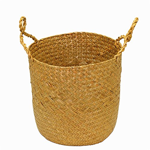 en Seagrass Tote Straw Basket With Handles For Storage, Laundry, Picnic, Plant Pot Cover, Flower Pot Vase, Paper Basket, And Beach Bag (Grass Woven Tote)