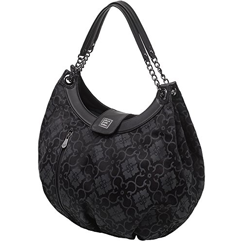 Petunia Pickle Bottom Hideaway Hobo - Bolso bandolera, color negro