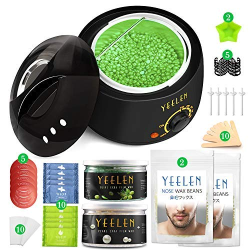 Yeelen Waxing Kit 400g Wax Beans 100g Nose Wax Wax Warmer Hair Removal 10 Wax Applicator Sticks at Home Waxing