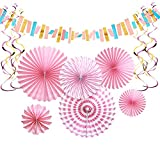 Aonor Pink Party Decorations - Paper Fan Flowers Hanging Banner, Party Swirls, Paper Garland Bunting for Bridal Shower Backdrop, Birthday Party Wall Decorations