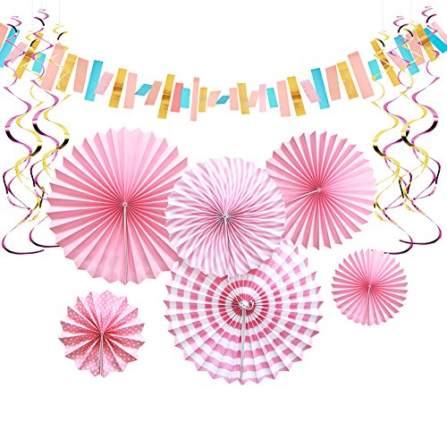 Aonor Pink Party Decorations - Paper Fan Flowers Hanging Banner, Party Swirls, Paper Garland Bunting for Bridal Shower Backdrop, Birthday Party Wall Decorations by Aonor