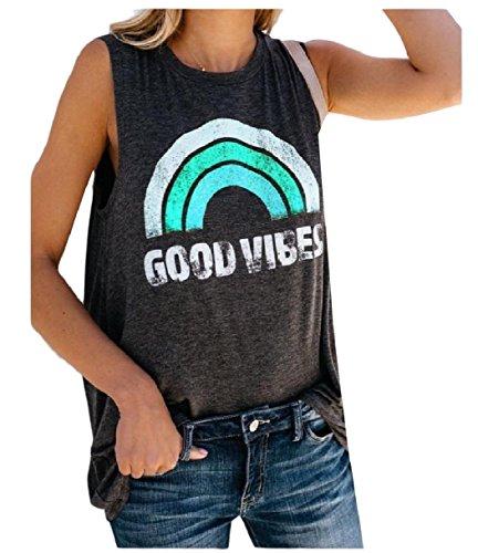 あたたかい下向きシリングTootess 女性のグラフィックプリントレインボークルーネックティーレジャータンクトップシャツ