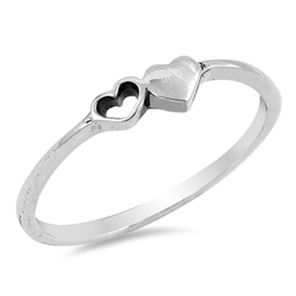 Cutout Heart Purity Promise Dainty Ring New .925 Sterling Silver Band Sizes 4-10 Sac Silver