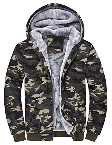 Tanming Men's Winter Thicken Sherpa Lined Camo Hoodies Full Zip Warm Hooded Coat (Army Green, Small)