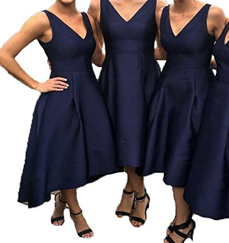 Bessdress V Robes De Demoiselle D'honneur En Satin Cou Salut Lo Robes De Soirée Formelle Du Soir Avec Des Poches Bd357 Bleu Marine