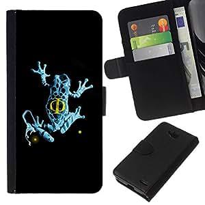All Phone Most Case / Oferta Especial Cáscara Funda de cuero Monedero Cubierta de proteccion Caso / Wallet Case for LG OPTIMUS L90 // Blue Fringe Frog