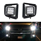 iJDMTOY (2) 24W High Power Dually 2x3 LED Pod Lights w/ Fog Lamp Location Mounting Brackets & Wiring Kit For 2014-up Toyota Tundra