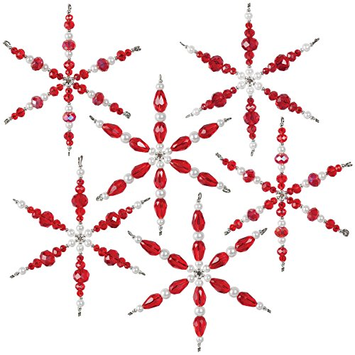 Beaded Snowflake Ornaments (Solid Oak NC002 Ruby Snowflakes Ornament Kit red)