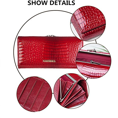 Leather Wallets for women Crocodile Grain Purse Luxury Genuine Leather Cluth Wallet Ladies Bag by COSSROLL (Image #3)