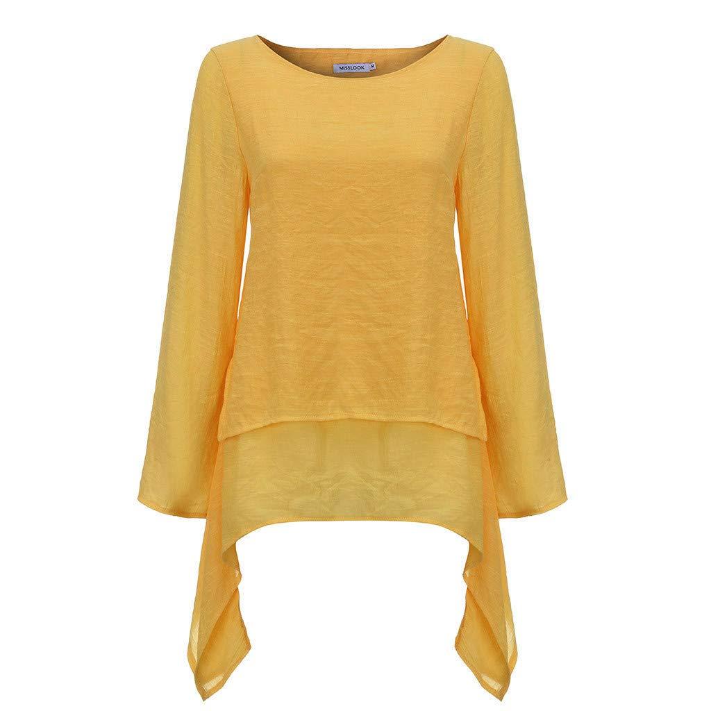 Sanyyanlsy Womens Plus Size Linen Layed Blouse Irregular Hem Long Sleeve Shirt Tank Top Vest O-Neck Long Casual T-Shirt