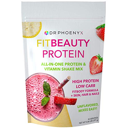 Dr. Phoenyx FitBeauty Protein and Vitamin Shake Mix for Women - Keto, Low Carb Whey Protein Meal Replacement Powder for Healthy Diet, Weight Loss, Hair Skin and Nails - Unflavored, 30 serv
