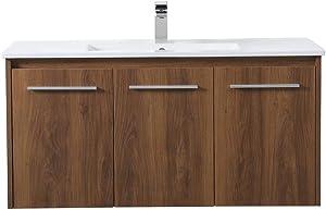 Elegant Decor 40 inch Single Bathroom Floating Vanity in Walnut Brown