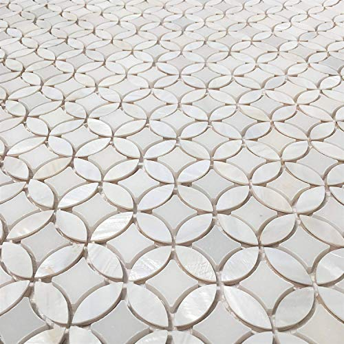 Thassos with Mother of Pearl Flower Tiles On Mosaic Sheet for Kitchen Backsplashes, Bathroom Walls, Floor Tile, Spas, Pools (5)