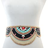 Retro Charms Ethnic Beaded Elastic Strech Adjustable Belt Waist Belly Chain Body Jewelry (Black)
