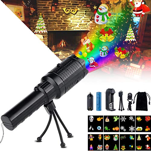 OPOLEMIN Holiday Kids Handheld Projector Flashlight with Rechargeable Battery Portable Decoration Lights for Home Party Camping Birthday Wedding Christmas Halloween -