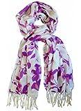 Echarpe en 100% laine, 200cmX70cm. Couleur violet, ivoire.