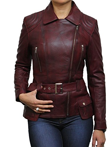 Brandslock Trench Ladies Mid Length Designer Real Leather Jacket Burgundy
