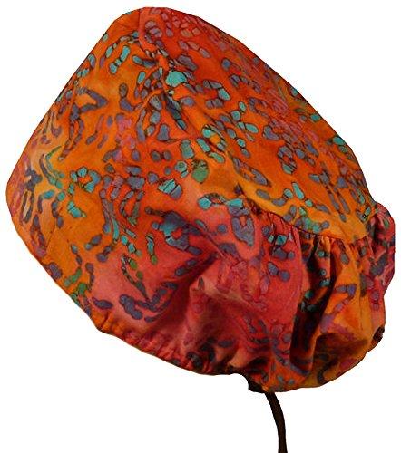 Riley Medical Scrub Caps - Blue Leaves On Orange Batik #18 - Orange Scrub Cap