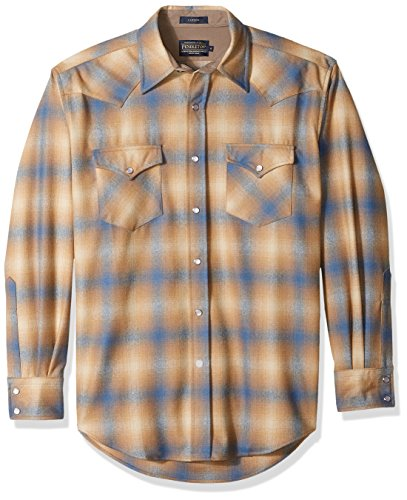 Pendleton Men's Long Sleeve Button Front Classic-fit Canyon Shirt, tan/Blue Ombre, SM