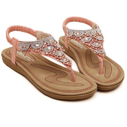 DQQ Sandal 975 T Women's Flat Pink Thong Strap Beaded zY7xrz