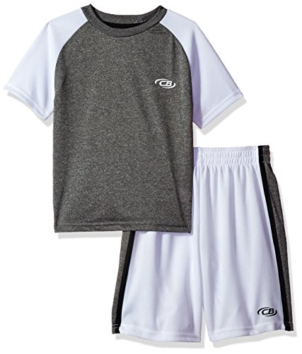 CB Sports Toddler Boys' 2 Piece Performance T-Shirt and Short Set, Sj_Black and White, 3T