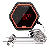 BBQ Thermometer Grill Meat Oven Smoker Inkbird Digital 150ft Bluetooth Wireless Indoor Outdoor Cooking Home Barbecue Kitchen 6 PROBES Stainless Steel Six-in-One for Grilling, Baking (6 Probes, Orange)