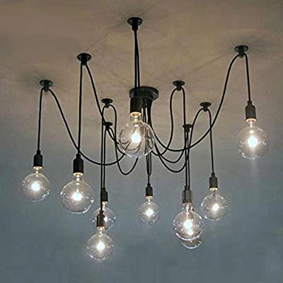 Electro_BP;Vintage Industrial Style Black Pendant light Max 600W Adjustable rope With 10 Bulbs