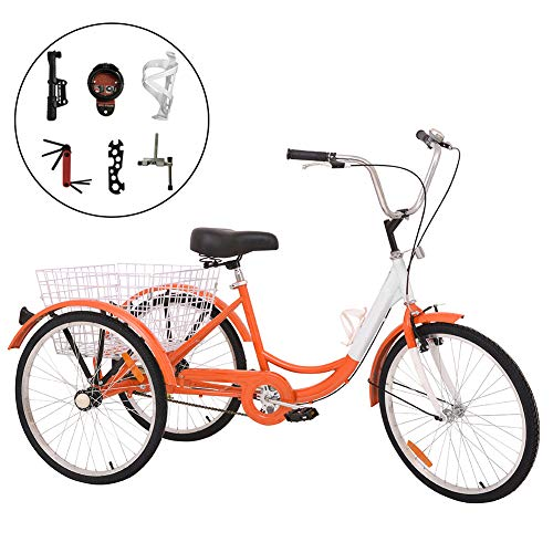 Barbella Single and 7 Speed Adult Tricycle Three-Wheeled Bicycle with Cipher Lock, Bike Pump, Assembly Tools and Instructions to Facilitate Your Assemble 24-Inch Bicyle (Single Speed Orange)